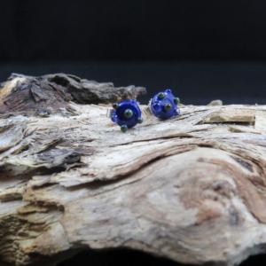 925er Silberohrstecker mit kobaltblauer Glasperle