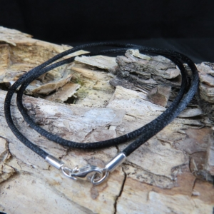 Stoff - Collier schwarz ca. 2mm dick, Karabiner 925er Silber