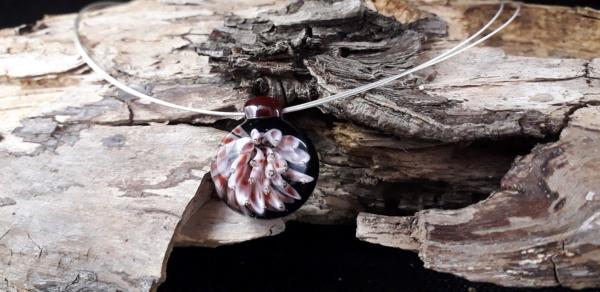 Rot weiße Implosionsblüte mit versilbertem Stahlseil